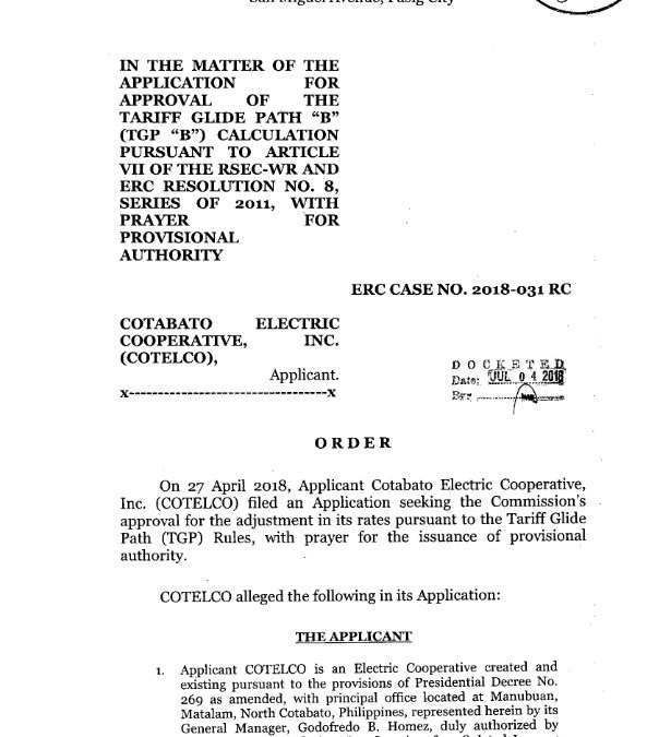Initial Order of ERC Case No. 2018-031 RC