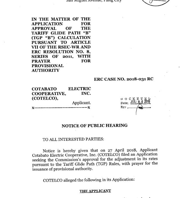 Notice of Public Hearing of ERC Case No. 2018-031 RC