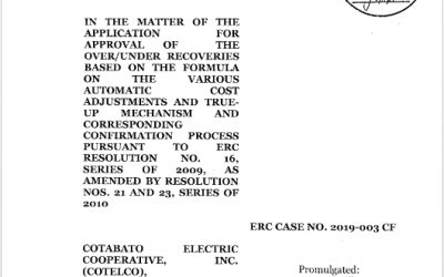 Order and notice of public hearing for approval of over/under recoveries (2019-003 CF).